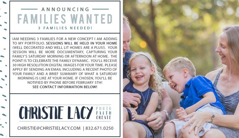 Families Wanted   Cypress Family Photographer